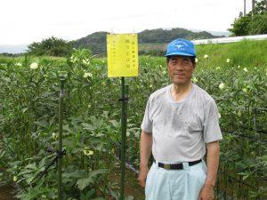 野菜部会員のほ場に黄色の立て札設置し巡回指導強化
